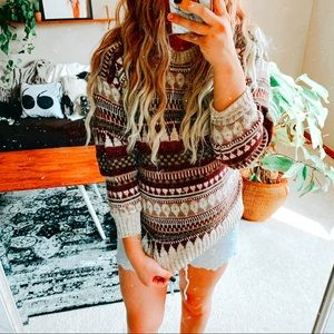 🍁 🍂 VTG boho Aztec geometric grandpa sweater p1